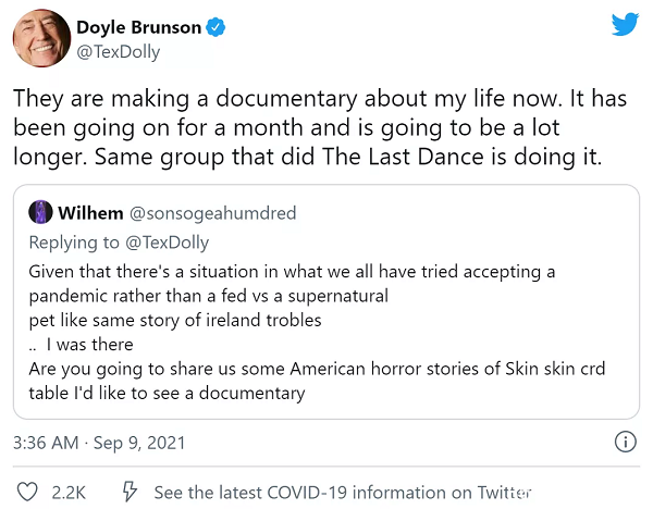 Dolye Brunson纪录片正在火热拍摄中